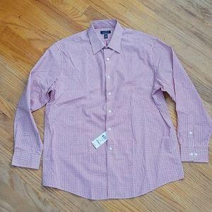 NWT Club Room Size L (16 16.5) Red Checkered Shirt